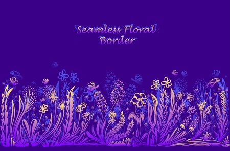 Background with seamless border in floral style in blue lilac pink yellow for banner or card or for decoration different things 向量圖像
