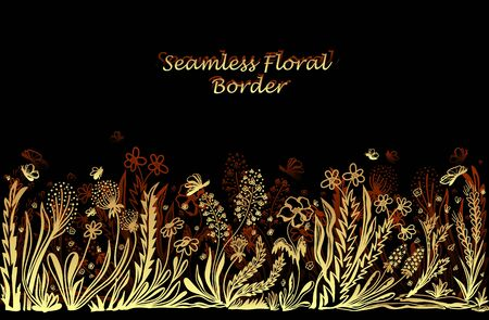 Background with seamless border in floral style in gold on black for banner or card or for decoration different things Illustration