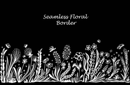 Background with seamless border in floral style white on black for banner or card or for decoration different things