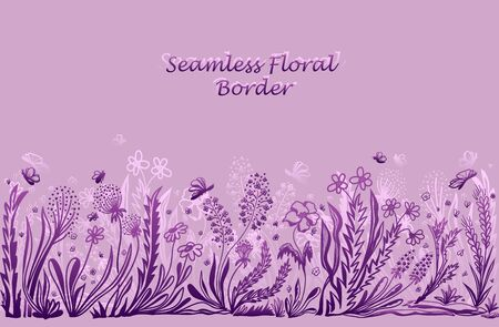 Background with seamless border in floral style in lilac pink for banner or card or for decoration different things Illustration