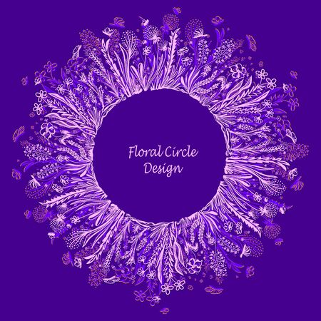Template with circle frame from wild flowers grass and insects in pink lilac for banner or card or for decoration different things