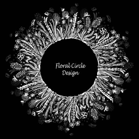 Template with circle frame from wild flowers grass and insects in white on black  for banner or card or for decoration different things