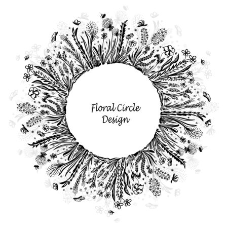 Template with circle frame from wild flowers grass and insects in black on white for banner or card or for decoration different things