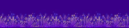 Background with seamless border in floral style in blue lilac pink yellow for banner or card or for decoration different things Illustration