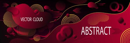 Abstract futuristic background or banner in dark red with clouds wave  liquid drops  geometric shapes dynamic  forms  illusion motion and data transfer Ilustração