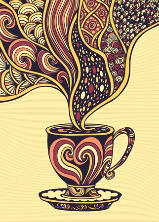 Cup of coffee or tea in Zen tangle Zen doodle style colorful for decoration and advertising of coffee or tea or concept of relax time  or  for package
