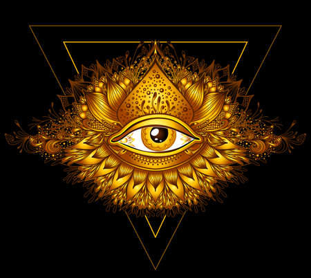 Abstract symbol of All-seeing Eye in Boho Eastern Ethnic style gold on black for decoration T-shirt or for computer game. Concept magic occultism Esoteric