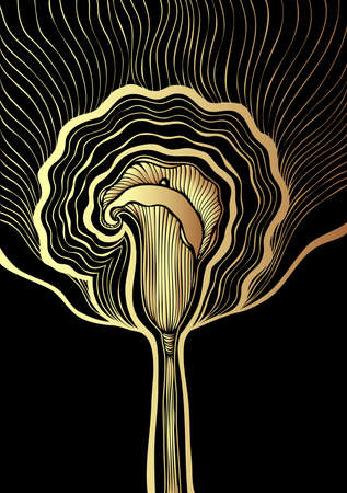Decorative background with Abstract flower Calla in Zen tangle or Zen doodle style gold black  for package cosmetic perfume or  for decoration different things or flourish visited card