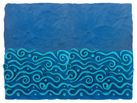 Sea and waves - blue plasticine background. Plasticine background can be used to advertise childrens products, postcards and illustrations on the site or any printing products.