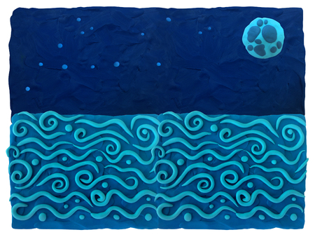 Sea and night sky - blue plasticine background Plasticine background can be used to advertise childrens products, postcards and illustrations on the site or any printing products.