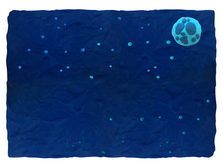 Night sky - blue plasticine background with space for text Plasticine background can be used to advertise childrens products, postcards and illustrations on the site or any printing products.