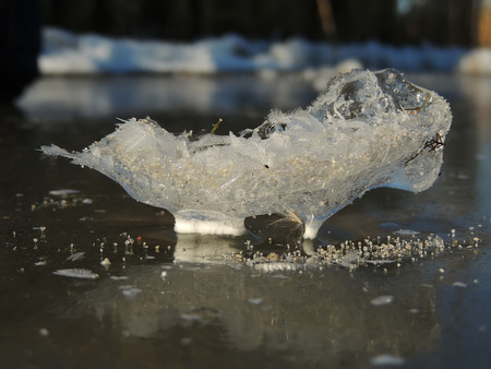 frost bound: river ice surface with ice crystals on the frozen plant twig and ice grains on the ice surface Stock Photo