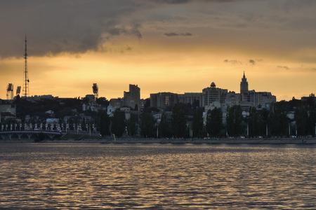 voronezh: city riverside at sunset before rain