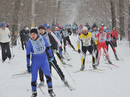contestant: Skiers on the ski track Ski Track of Russia at a distance of 10 km. Stock Photo