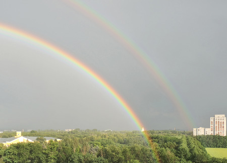 agricultural engineering: Double rainbow after a summer rain in Vronezh city in the district of Forestry Engineering Academy and Agricultural University. Voronezh, Russia