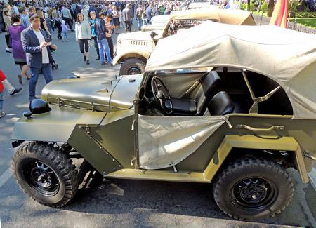 Retrocar of World War II and Korean War soviet military all-wheel-drive vehicle light truck jeep F4 layout GAZ-67