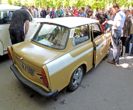 elevation: Side and back elevation and saloon of East Germany twostroke engine car of 196080s Trabant 601 Limousine Standart