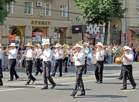 stetson: Brass band on the city street. Parade of Street Theatres on the Platonov Arts Festival
