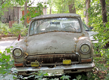 sidelight: Old abandoned retro car of 1960s under trees Stock Photo