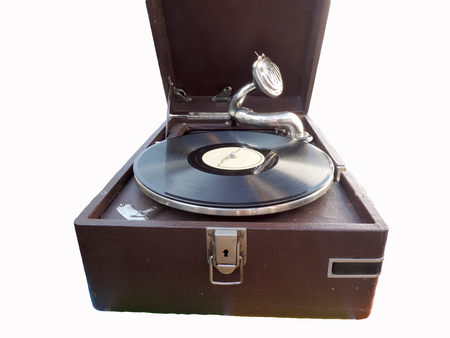 leatherette: Obsolete portable gramophone coated leatherette with record Stock Photo
