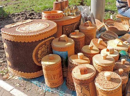 birchbark: Market stall with handicraft birchbark containers Stock Photo