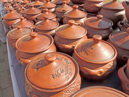 market stall: Market stall with ceramic pots