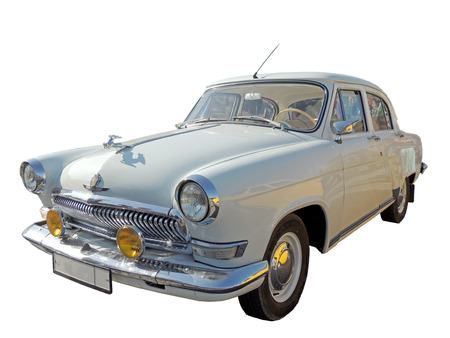 sidelight: Soviet retrocar of 1960s isolated white Stock Photo