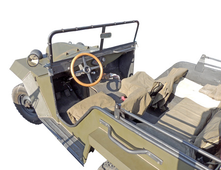 wwii: Passenger saloon of the light truck of WWII