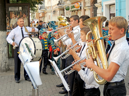 brass  band: Brass band of pupils and their teacher