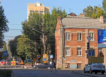 road works: Road works in the city street on a summer day Editorial