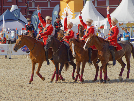 Fancy riding of the Kremlin school of riding on the Red Square, Moscow Editorial