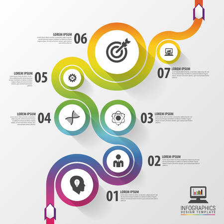illustration journey: Abstract colorful business path. Timeline infographic template. Vector