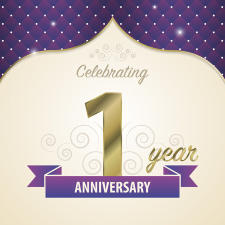 1 year anniversary: 1 year anniversary celebration golden style. Modern design. Vector illustration Illustration