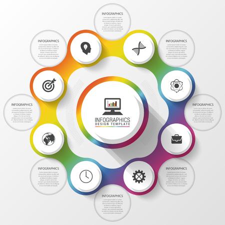 インフォ グラフィックのデザイン テンプレートです。ビジネス コンセプトです。アイコンのカラフルなサークル。ベクトル図  イラスト・ベクター素材