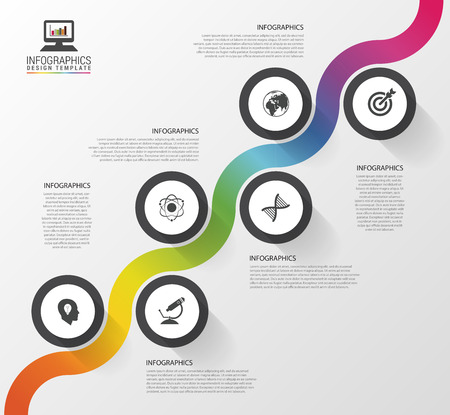 illustration journey: Abstract colorful business path. Timeline infographic template. Vector illustration Illustration