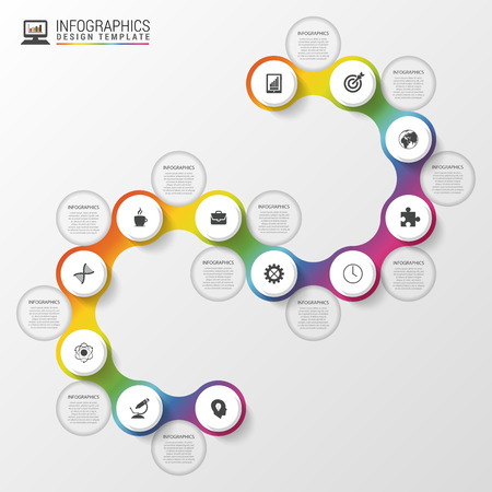 infomation: Infographic timeline spiral template. Modern business concept. Vector illustration
