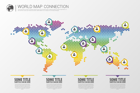 Colorful modern infographic world map connection concept. Vector illustration Zdjęcie Seryjne - 45157967
