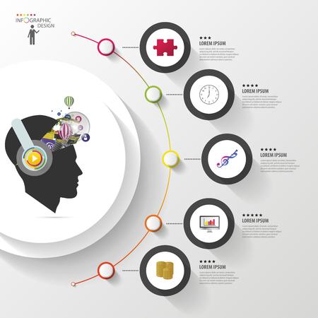 インフォ グラフィック。ヘッドフォンで創造的な心。アイコンと近代的なカラフルなサークル。ベクトル図