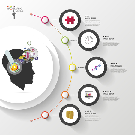 Infographics. Creative mind with headphones. Modern colorful circle with icons. Vector illustration
