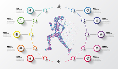 Infographic design template. Running. Colorful circles with icons. Vector illustration