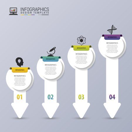 Modern Arrows. Infographic design template. Timeline. Vector illustration Vettoriali