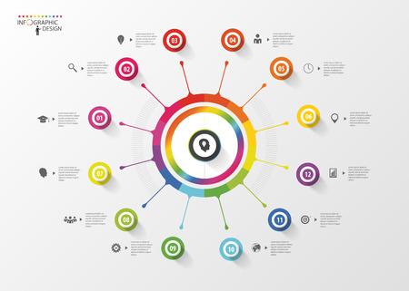 espiral: Plantilla de diseño Infografía. Línea de tiempo. Concepto de negocio. Ilustración vectorial Vectores
