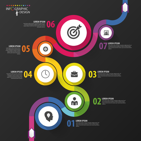 path: Abstract colorful business path. Timeline infographic template. Vector