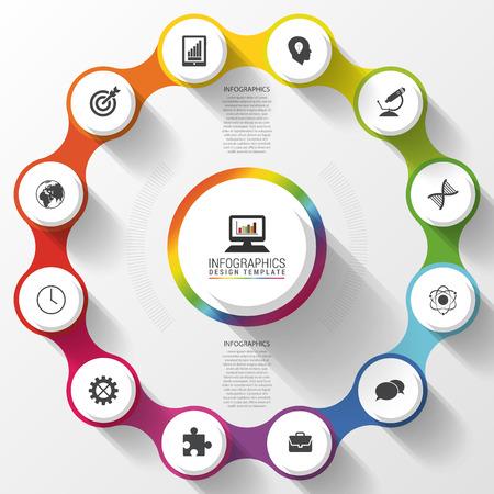 parameter: Modern business circle colorful design. Options banner. Infographics. 12 twelve components. Vector illustration
