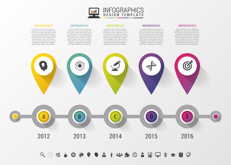 Timeline Infographic with pointers and text in modern style. Vector design template