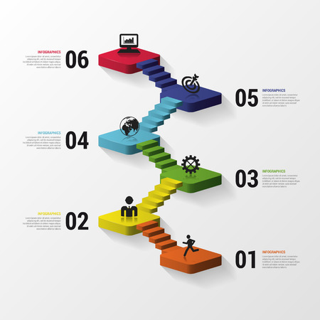 Tóm tắt cầu thang 3d infographics hoặc mẫu timeline. Minh hoạ vector