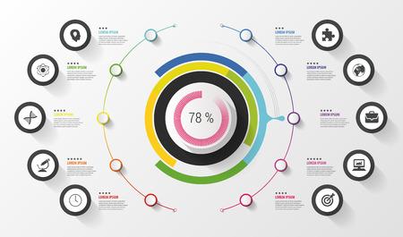 インフォ グラフィック。ビジネス コンセプトです。アイコンのカラフルなサークル。ベクトル図