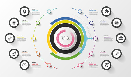 Infographic. Business concept. Colorful circle with icons. Vector illustration Imagens - 45338505