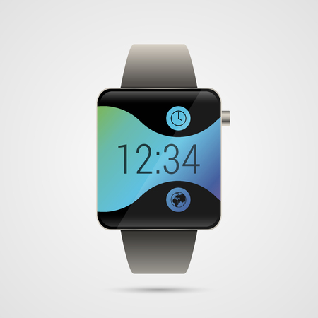 shiny buttons: Modern shiny smart watches with buttons and wave. Vector illustration Illustration