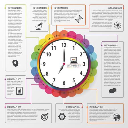 gestion del tiempo: Modernos infograf�a planificaci�n de la gesti�n del tiempo de trabajo. Concepto de negocio. Ilustraci�n vectorial Vectores